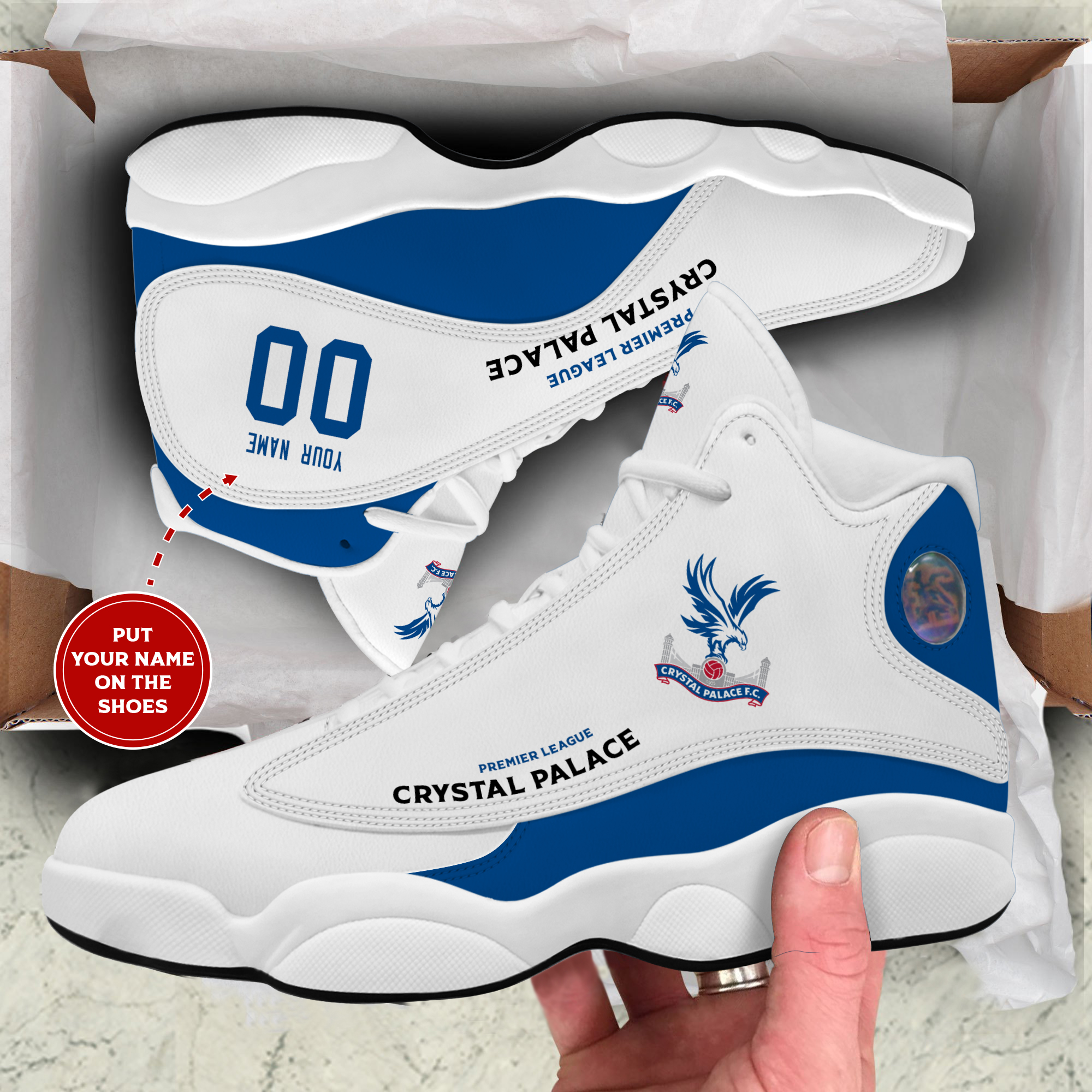 Crystal palace custom air jordan high top shoes 2