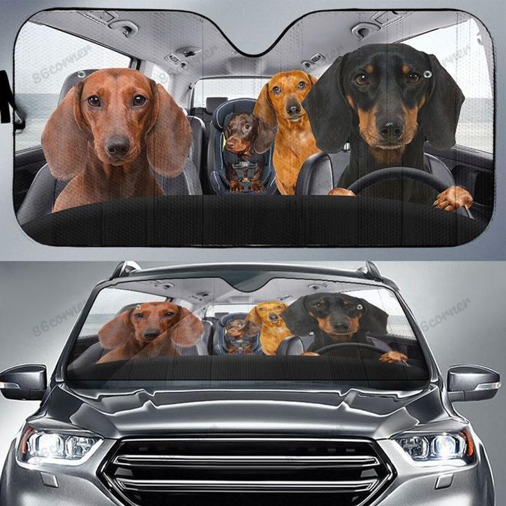 Dachshund family driving car sunshade