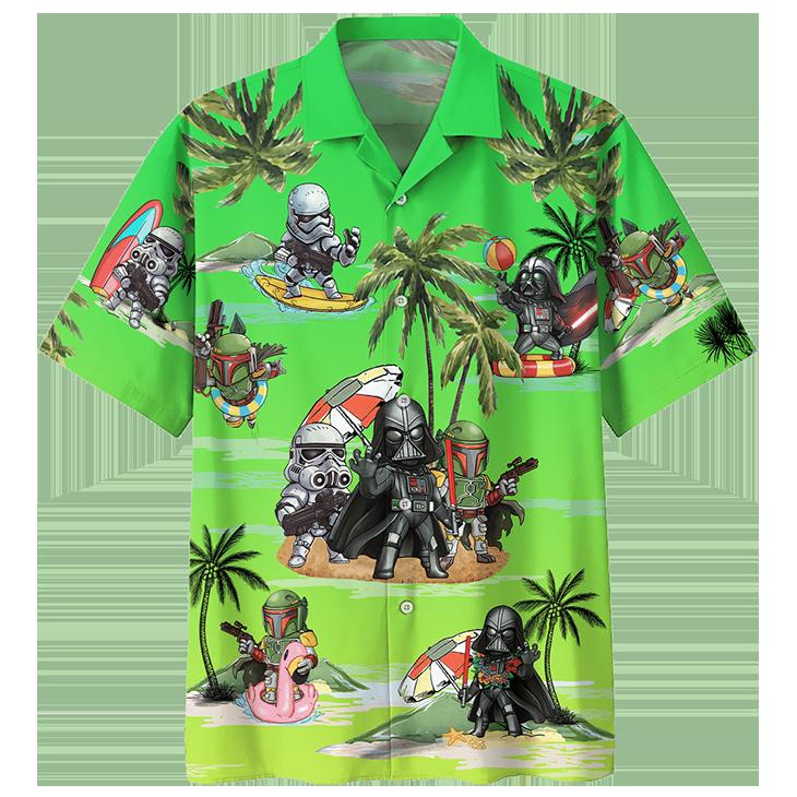 Darth Vader Boba Fett Stormtrooper Summer Time Hawaiian Shirt3