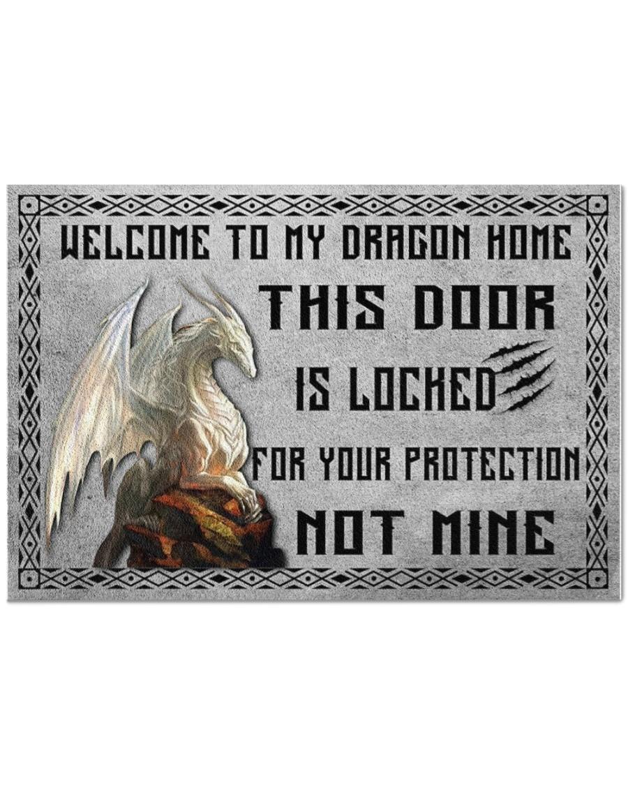 Dragon welcome to my dragon home this door is locked doormat