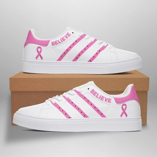 Breast Cancel Awareness believe stan smith low top shoes