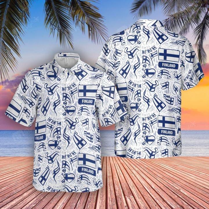 Finland flag hawaiian shirt and short 1