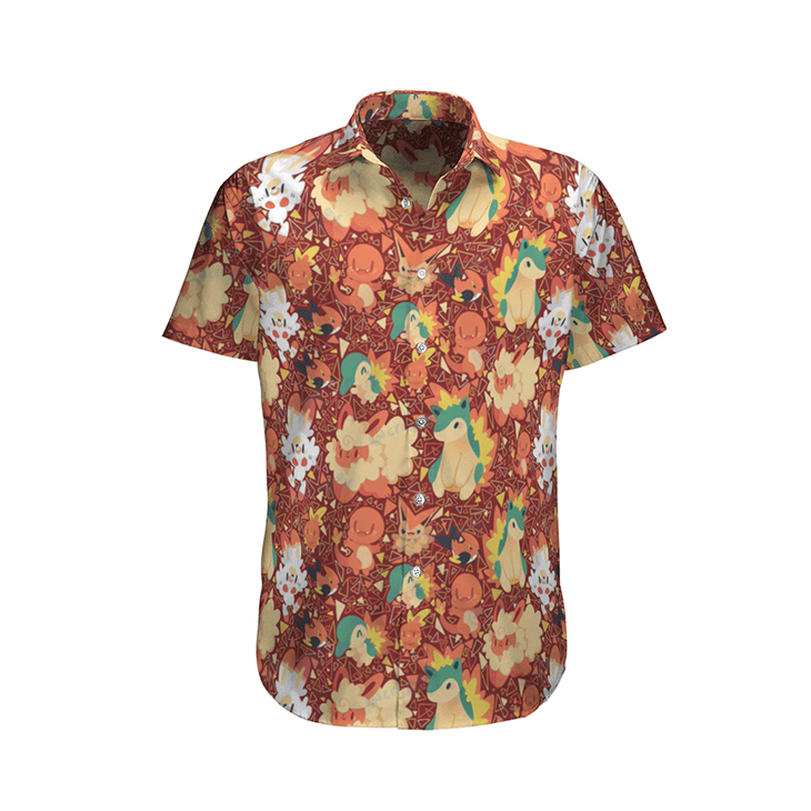 Fire Type Pokemon Hawaiian Shirt