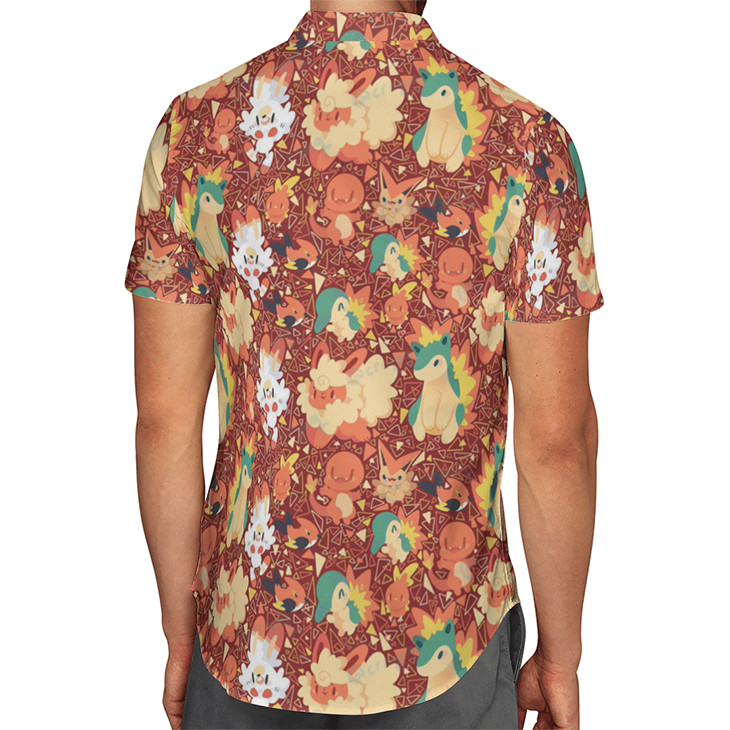 Fire Type Pokemon Hawaiian Shirt2
