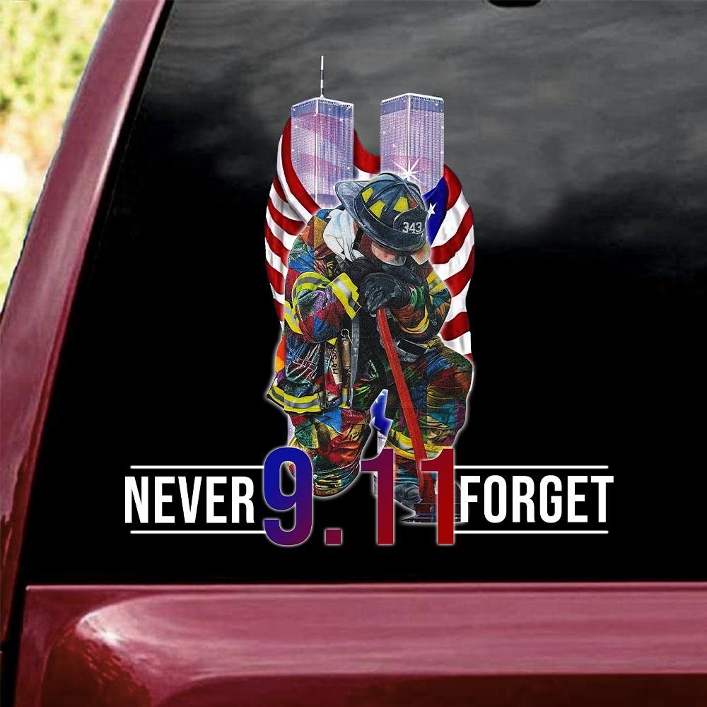 Firefighter September 11th Never Forget sticker