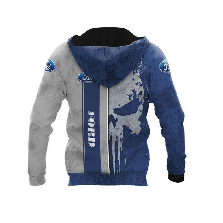 Ford punisher skull custom name 3d over print hoodie 2 1