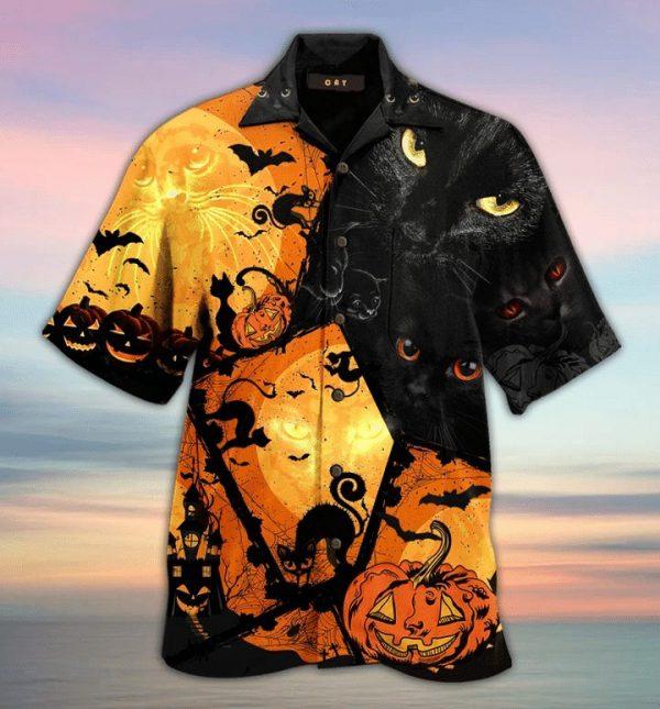 Halloween Black Cat and pumpkins Hawaiian Shirt