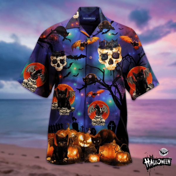 Halloween Cat and Skull Hawaiian Shirt