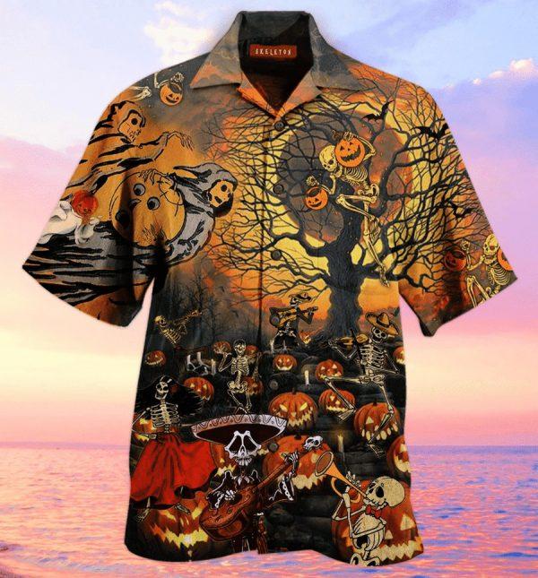 Halloween Skeleton and Pumpkin Hawaiian Shirt