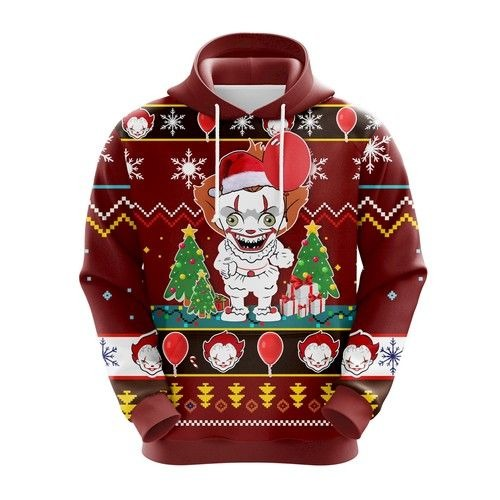 IT Pennywise chibi 3d ugly Christmas hoodie 1 1