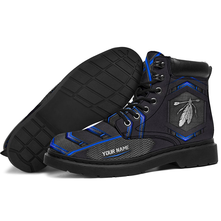 Indigenous Presonalized Printed Carbon Pattern Custom Name Boots1