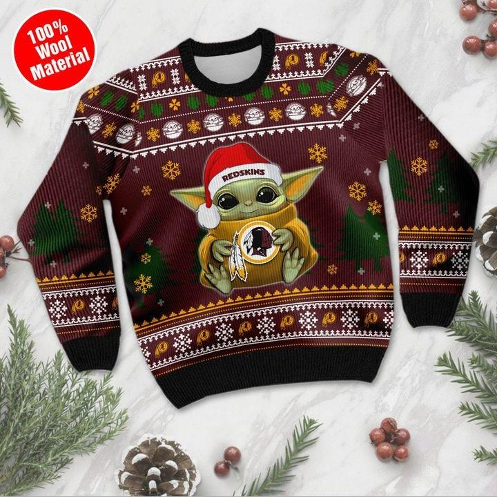 Baby Yoda Washington Redskins ugly sweater 2