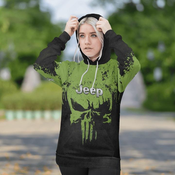 Jeep wrangler punisher skull 3d over print hoodie 3