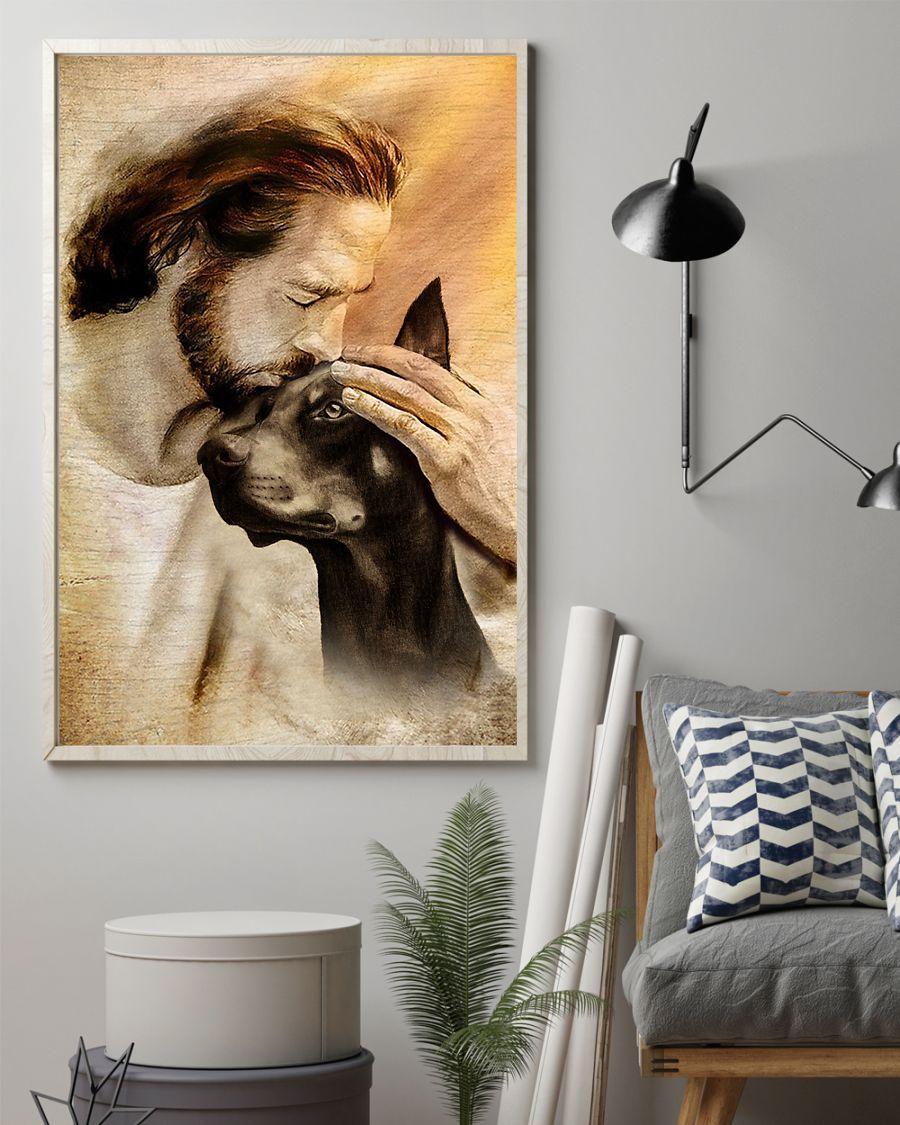Jesus With Lovely Doberman Pinscher Poster1