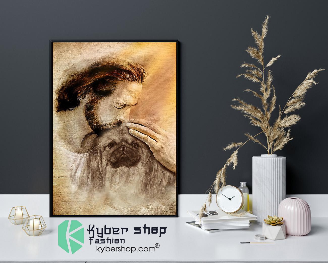 Jesus with Pekingese poster 4