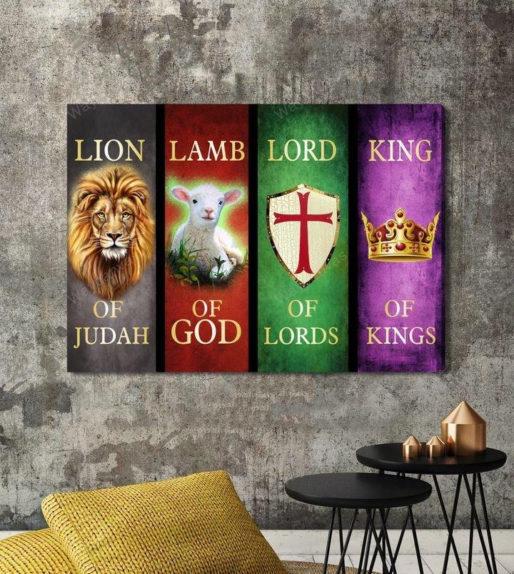 Lion Lamb Lord and King Jesus Canvas Print Wall Art