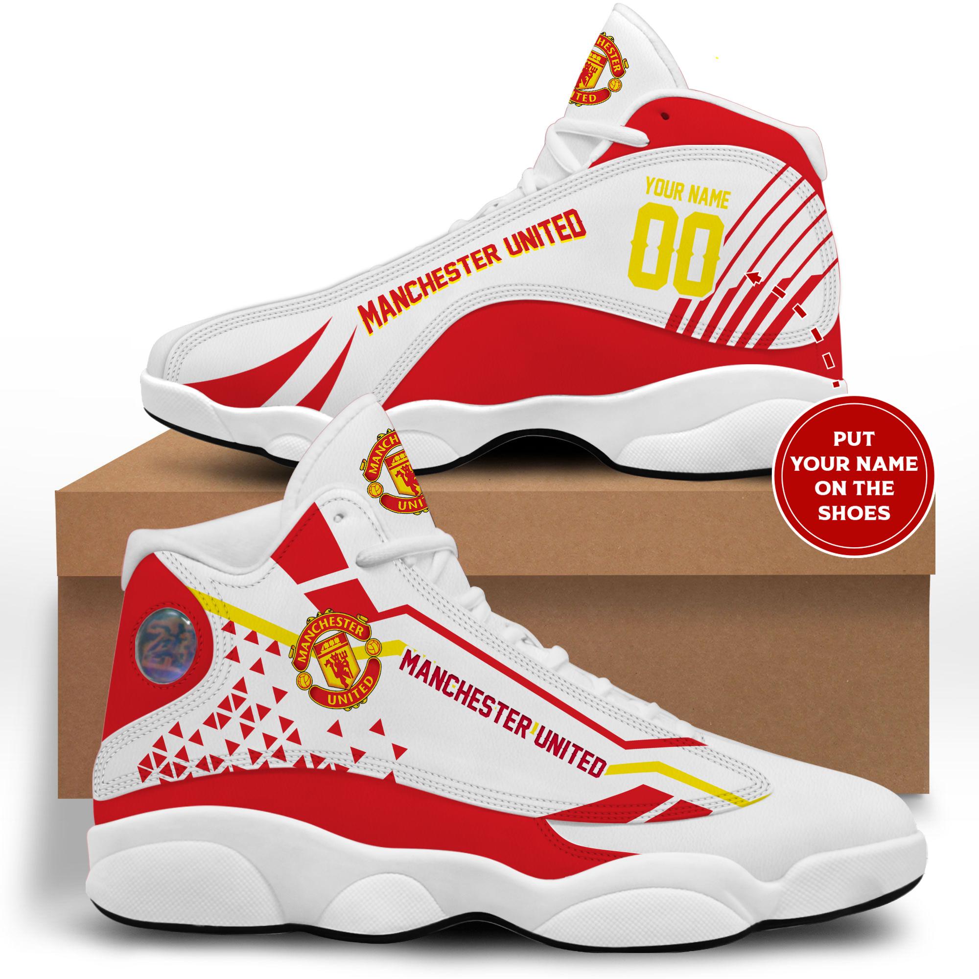 Manchester United custom name air jordan 13 shoes