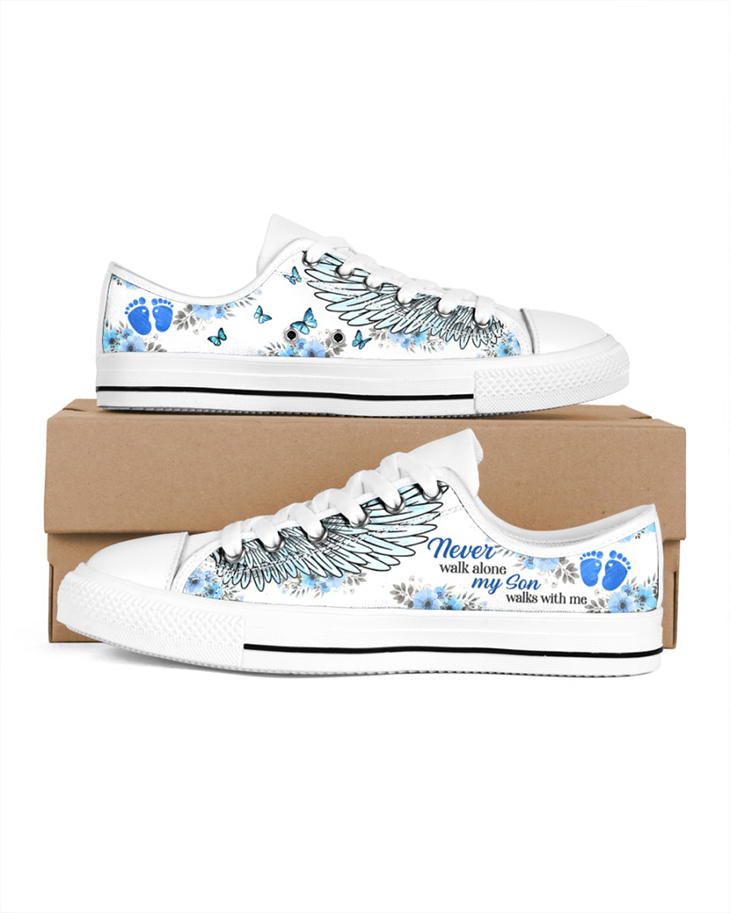 My Son Walks With Me Mens Low Top White Shoes
