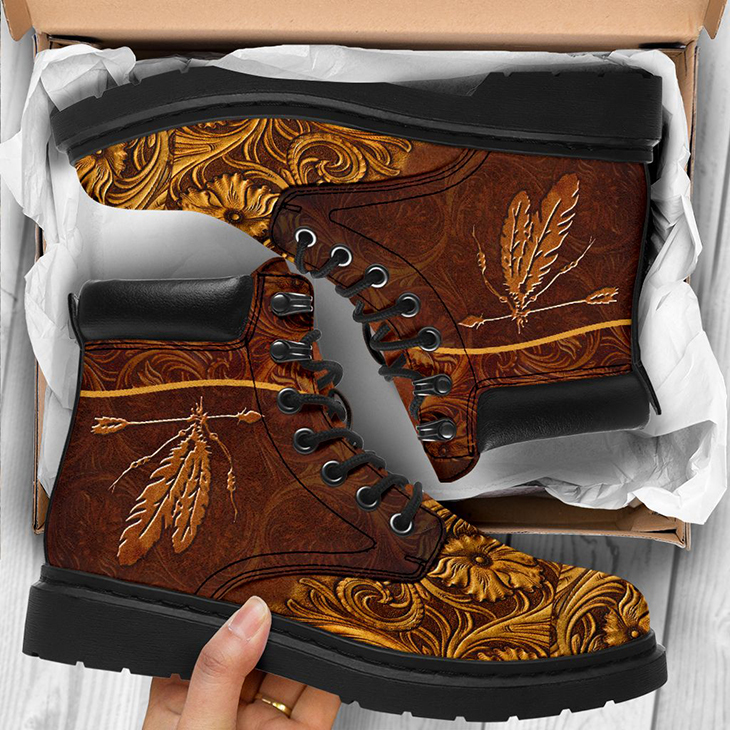 Native Printed Leather Boots