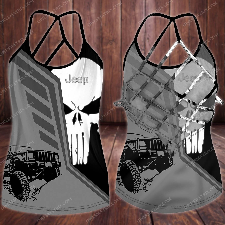 Punisher Skull jeep criss cross tank top5