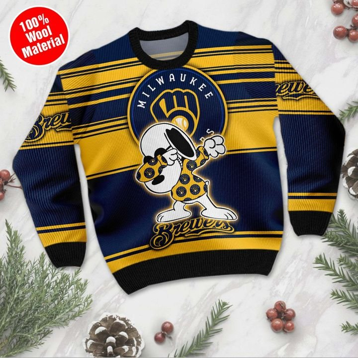 Snoopy Milwaukee Brewers Ugly Christmas Sweater 2