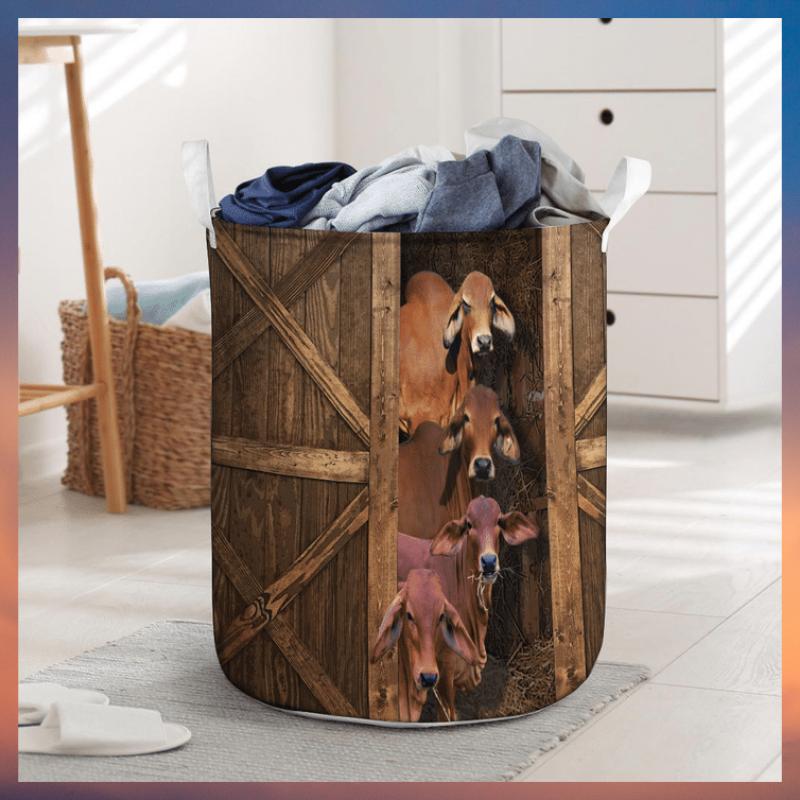 Red brahman cattle laundry basket 1