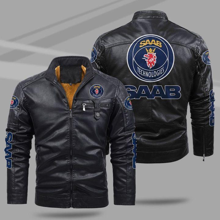 Saab Automobile fleece leather jacket