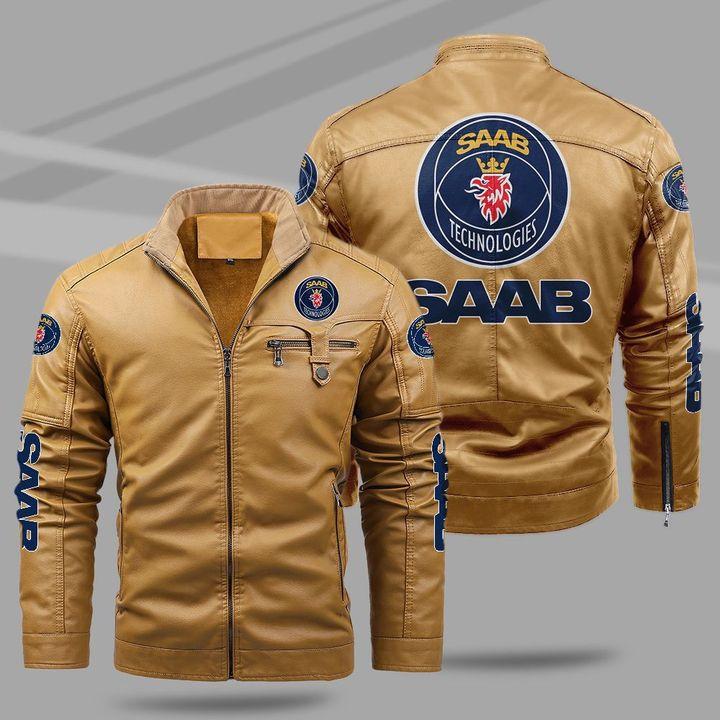 Saab Automobile fleece leather jacket1