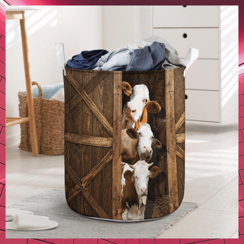 Simmental cattle laundry basket 1
