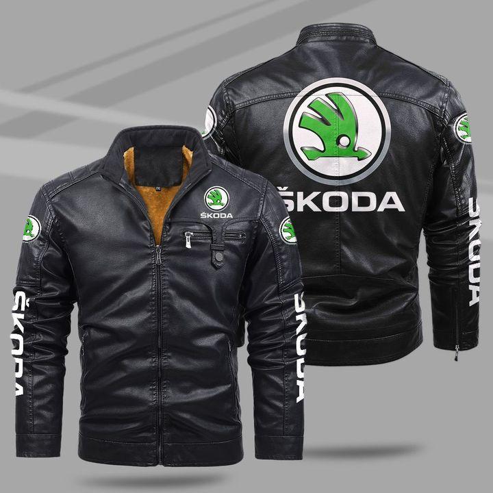 Skoda fleece leather jacket