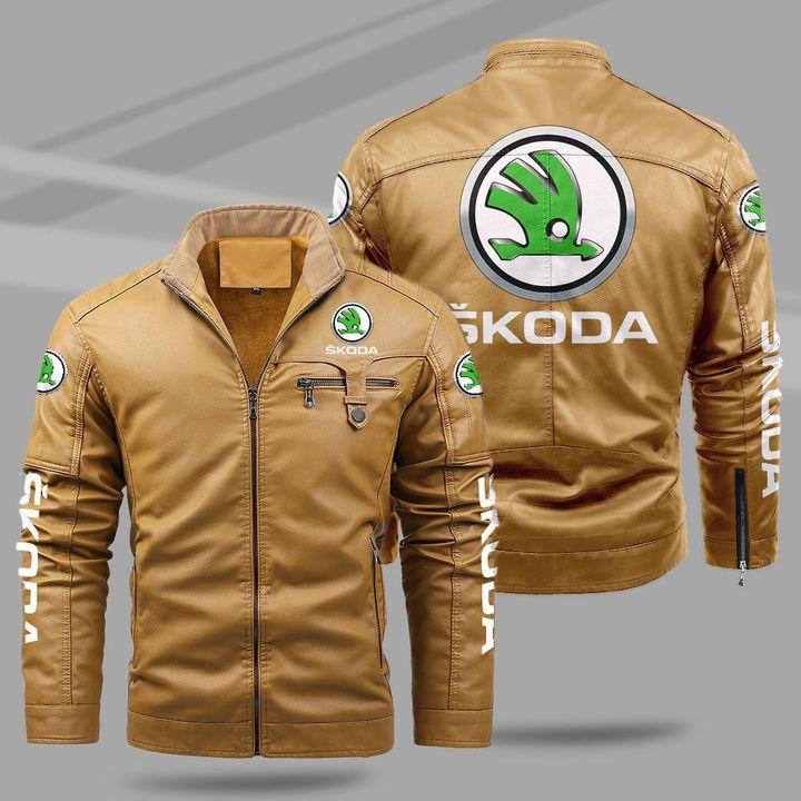 Skoda fleece leather jacket1