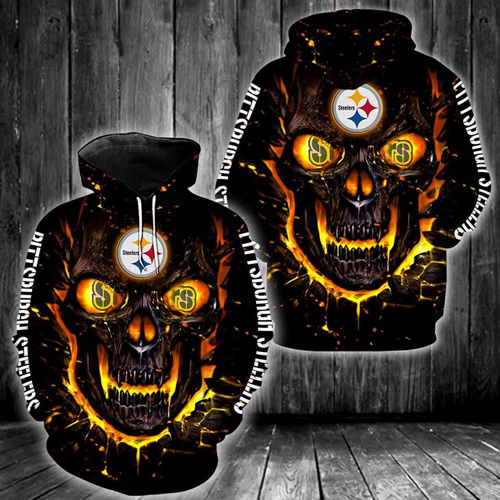 Skull NFL Pittsburgh Steelers 3D Hoodie