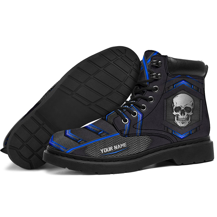 Skull Personalized Rpinted Carbon Pattern Custom Name Boots 1