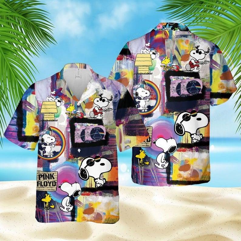 Snoopy pink floyd legend band hawaiian shirt 1 2