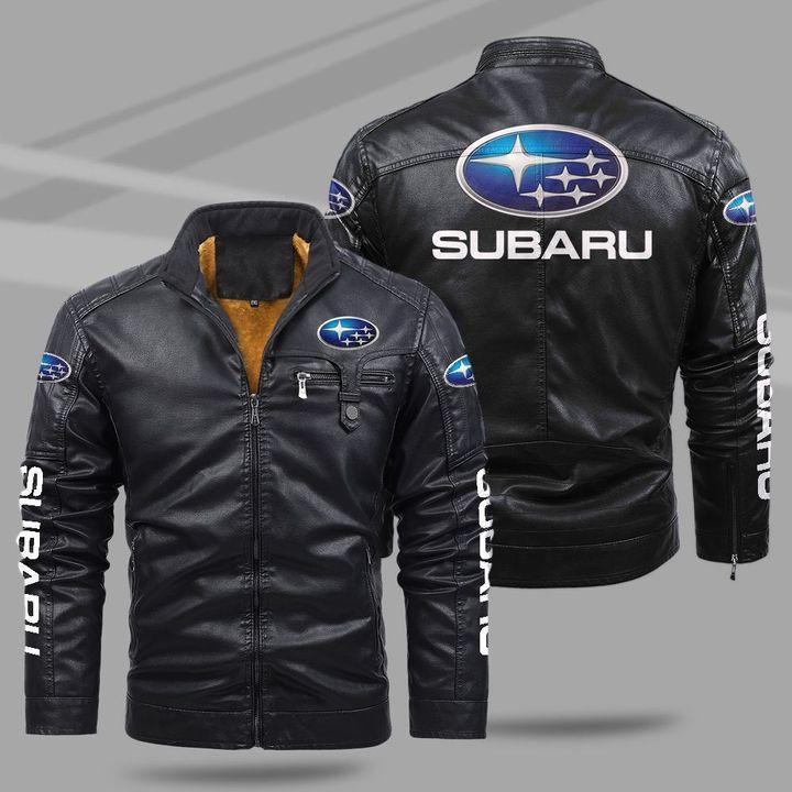 Subaru fleece leather jacket