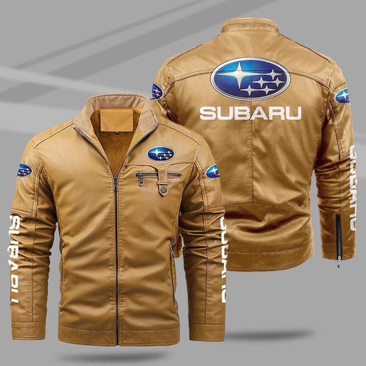 Subaru fleece leather jacket1
