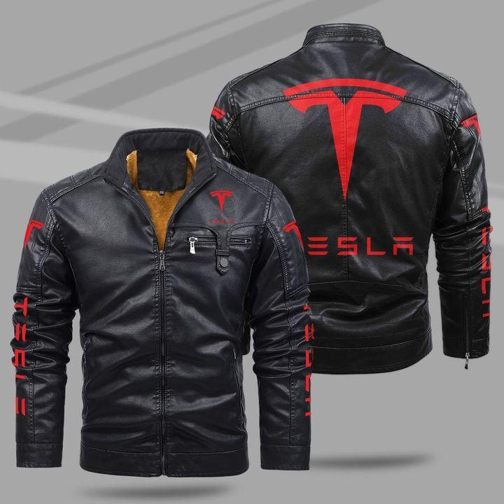 Tesla fleece leather jacket