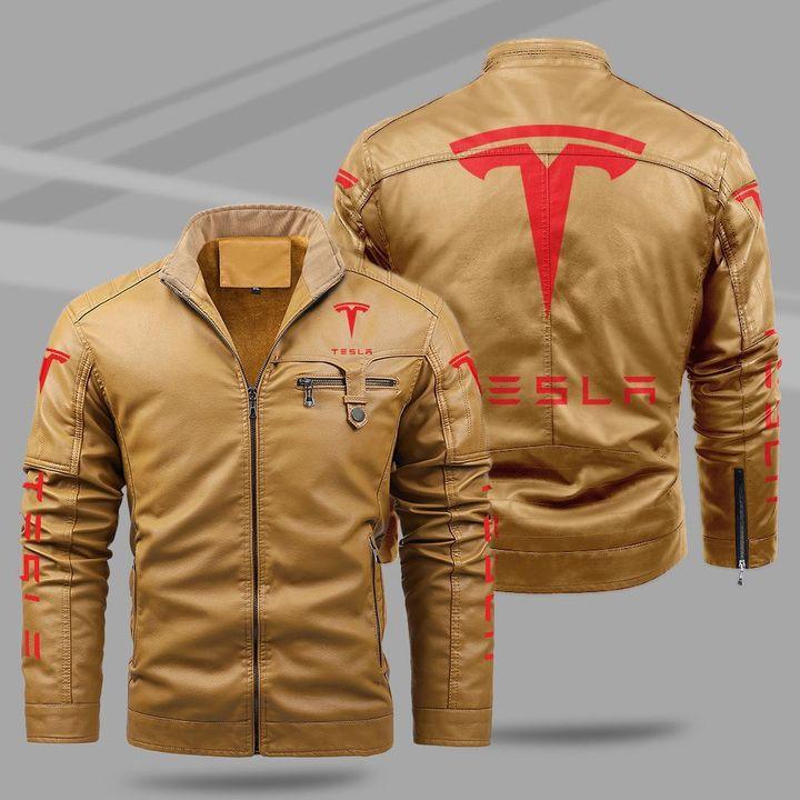 Tesla fleece leather jacket1