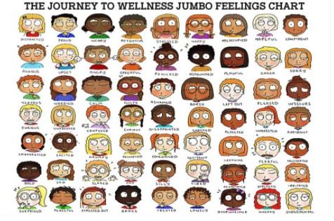The jouney to wellness jumbo feelings chart poster