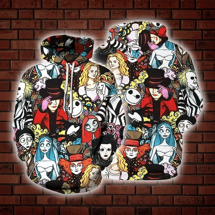 Tim burton characters 3d all over print hoodie 1