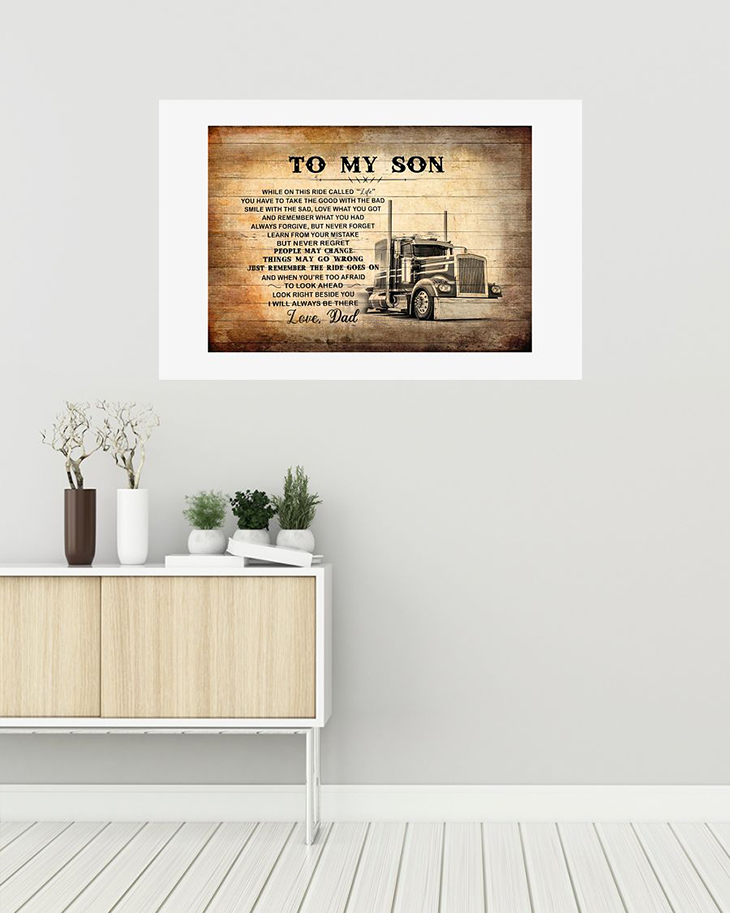 To My Son Love Dad Truck Driver Canvas And Poster2