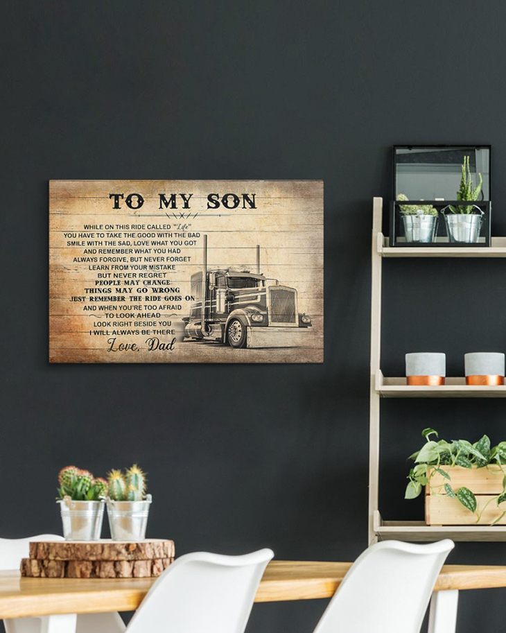 To My Son Love Dad Truck Driver Canvas And Poster6