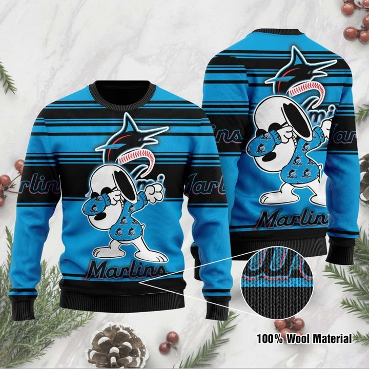 Snoopy Miami Marlins ugly Christmas sweater 1