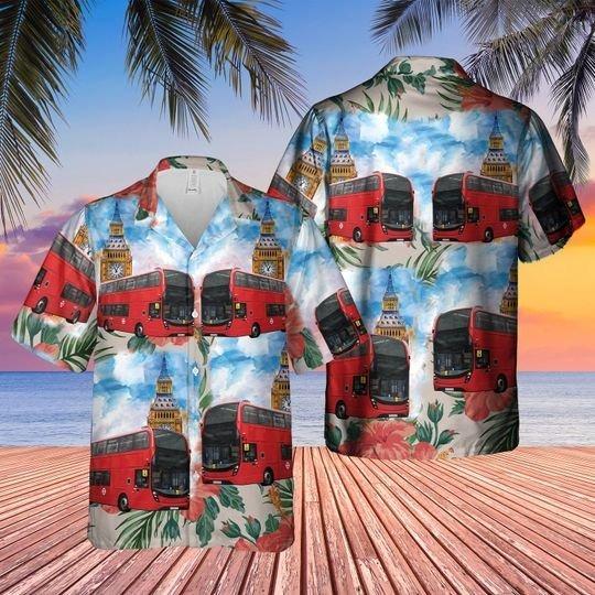 UK double decker bus hawaiian shirt