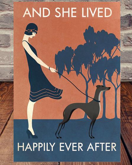 Vintage Girl She Lived Happily Greyhound poster