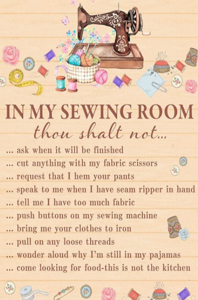 In my sewing room thou shalt not poster