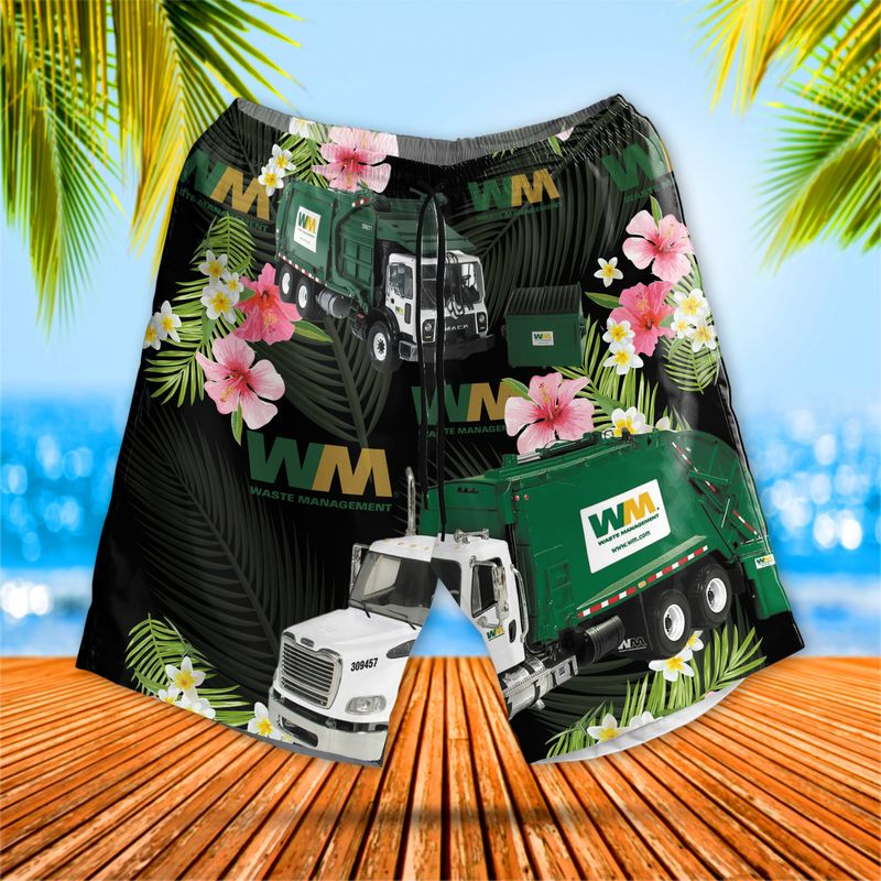 US Waste Management Garbage Truck Hawaiian Shirt 2