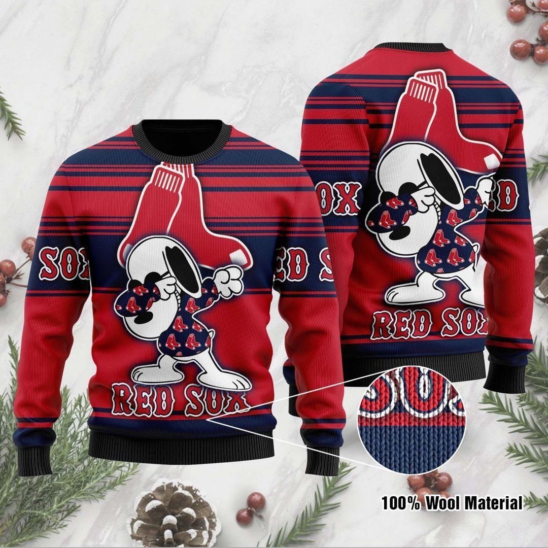 Snoopy Boston Red Sox ugly Christmas sweater 1