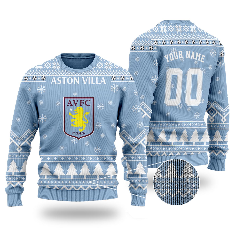Aston villa custom name and number ugly Christmas sweater