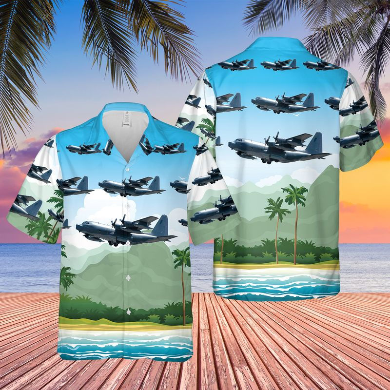 USAF 17th Special Operations Squadron MC 130P Combat Shadow Hawaiian Shirt 1